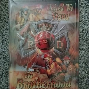 United we stand tin sign